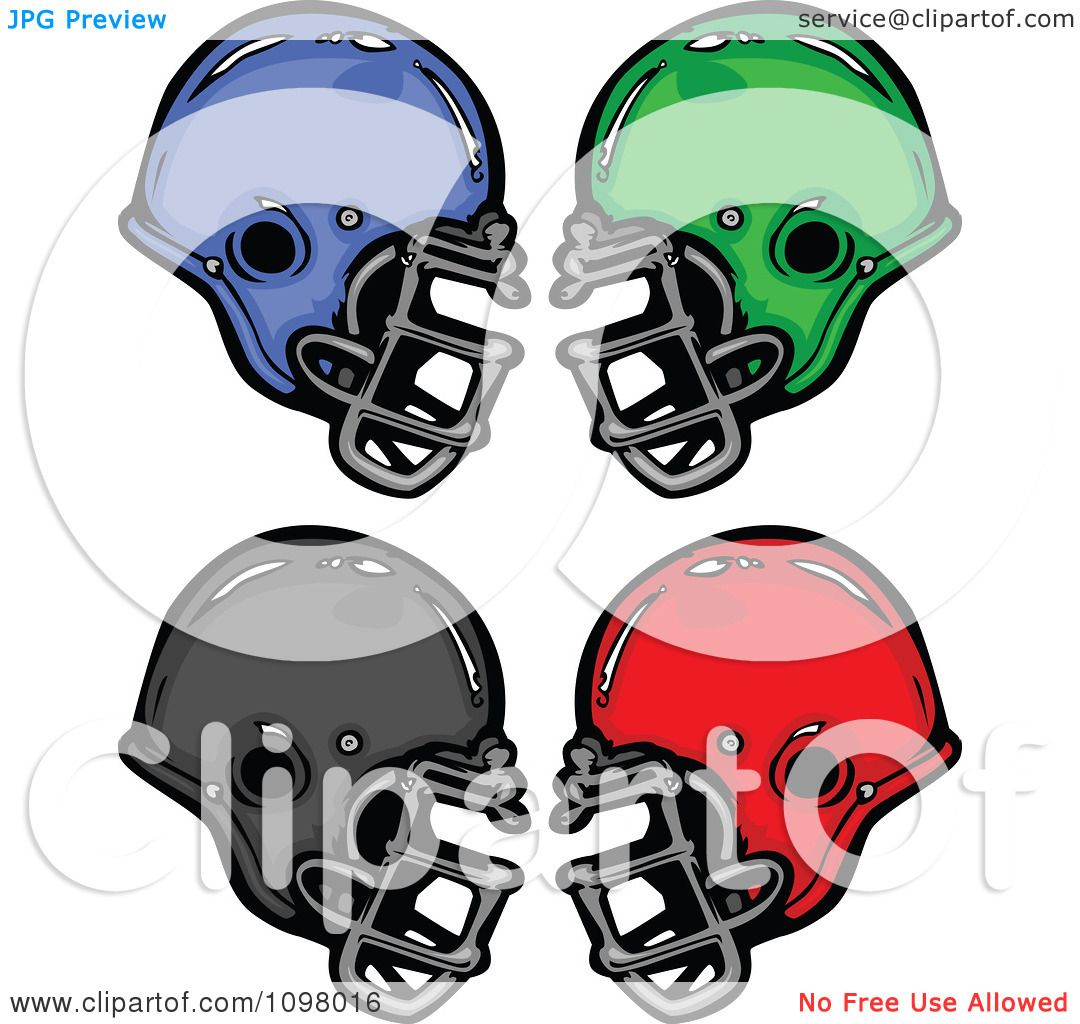 Clipart Blue Green Black And Red Football Helmets Royalty Free Vector Illustration By Chromaco 1098016