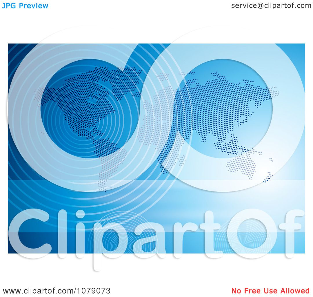 Clipart blue halftone world map with communication wave signals clipart blue halftone world map with communication wave signals royalty free vector illustration by milsiart gumiabroncs Image collections