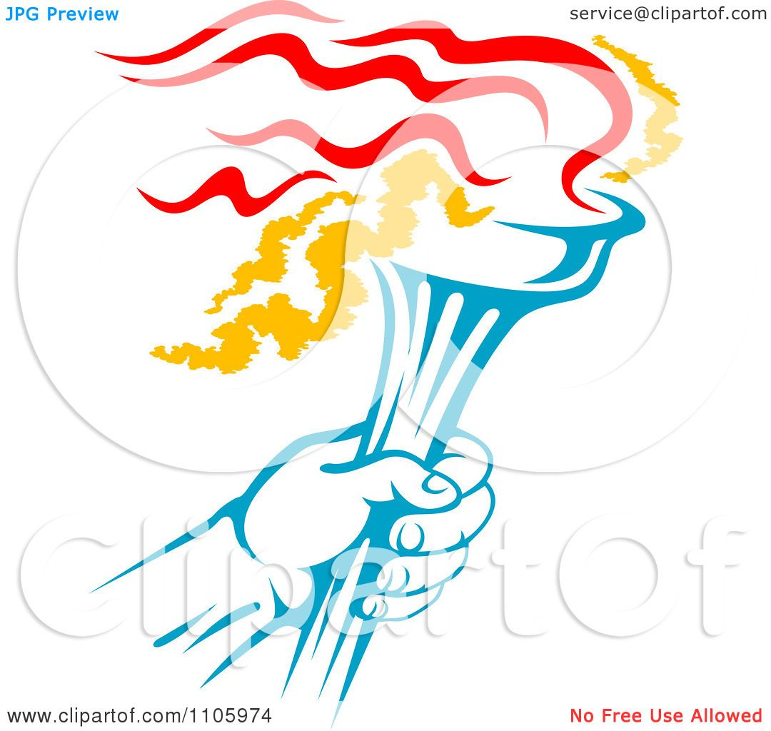 Clipart Blue Hand Holding A Flaming Olympic Torch - Royalty Free ... for Sports Torch Clipart  143gtk