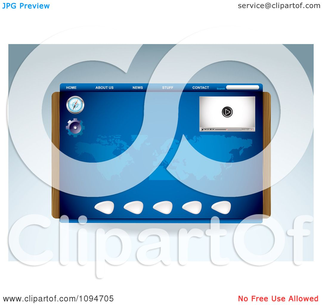 Clipart Blue Media Player Compass And Map Website Template Design Royalty Free Vector Ilration By Michaeltravers