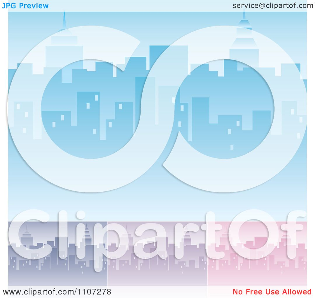 Clipart Blue Purple And Pink City Skyline Backgrounds With ...