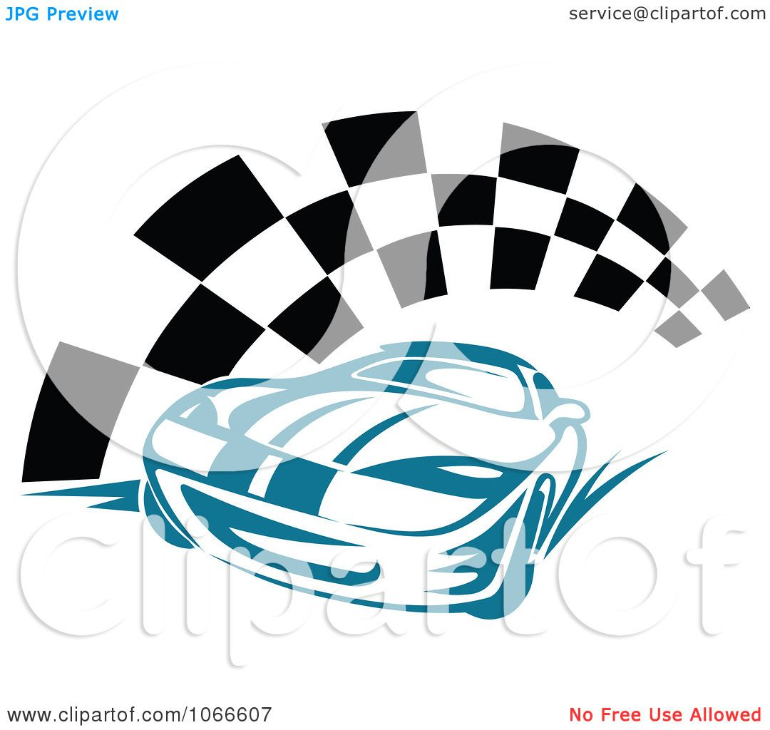 Clipart Blue Race Car And Checkered Flag Royalty Free Vector