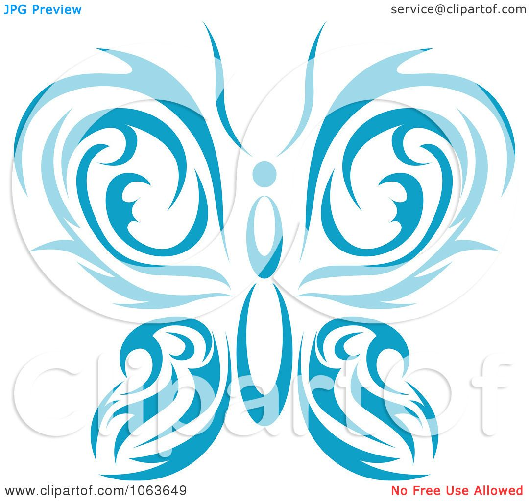 Clipart Blue Tribal Butterfly 1 - Royalty Free Vector ...