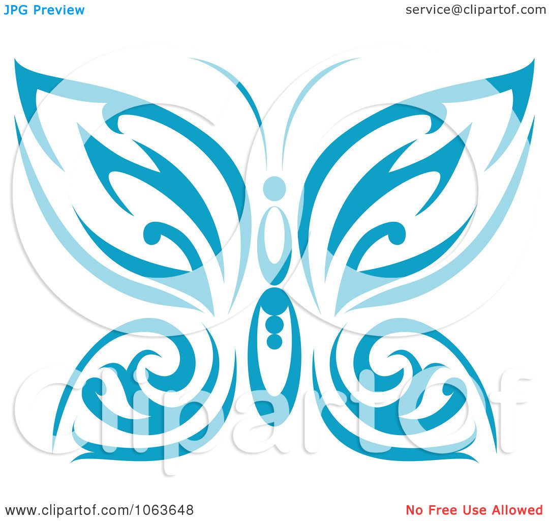 Clipart Blue Tribal Butterfly 3 - Royalty Free Vector ...
