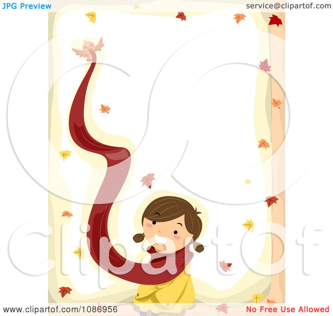 clipart border of a bird flying away with a girls scarf in the rh clipartof com Barbed Wire Frame Clip Art Princess Scroll Borders Clip Art