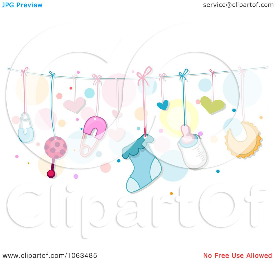 Clipart  Border  Of  Baby  Things  And  Dots  Royalty  Free  Vector  Illustration