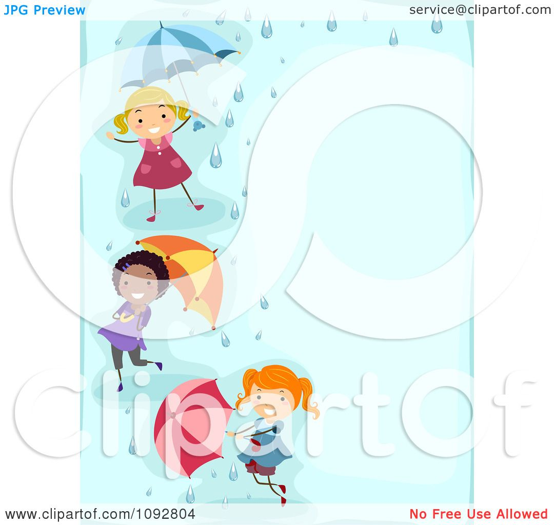 Clipart Border Of Girls Playing With Umbrellas And Rain With Blue ...