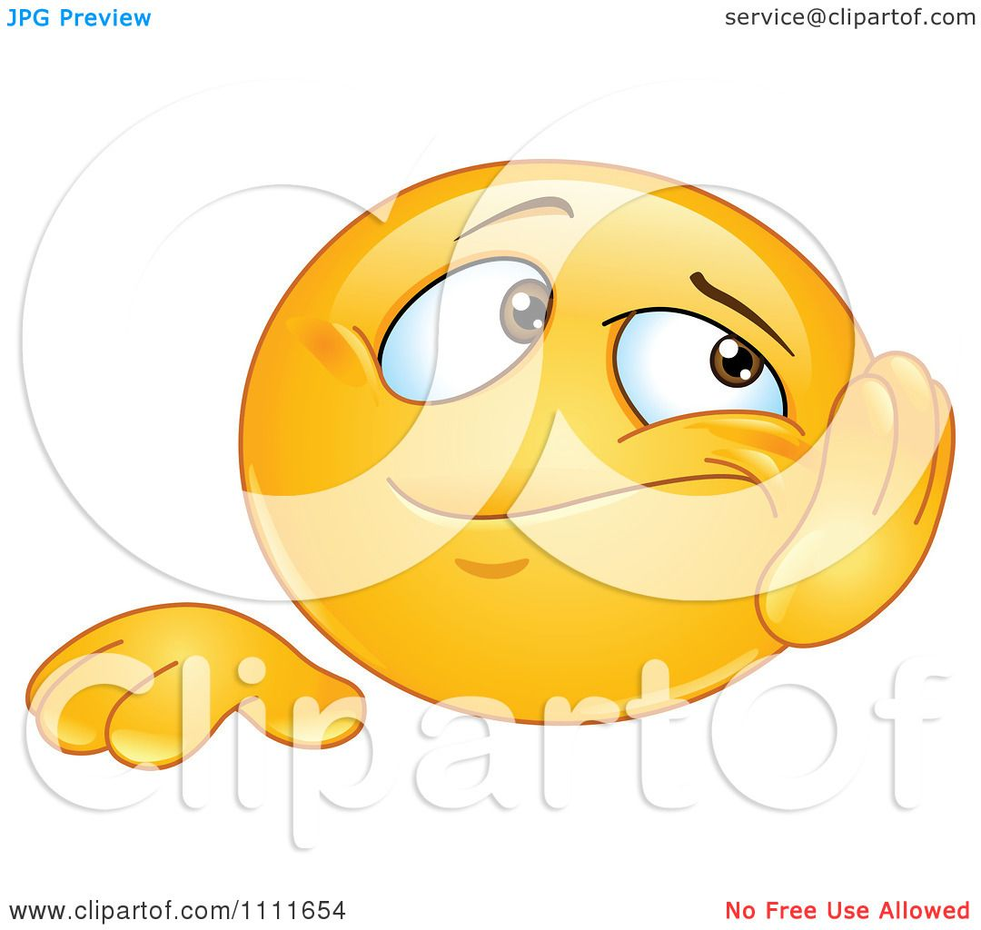 clipart bored emoticon resting his cheek in his hand