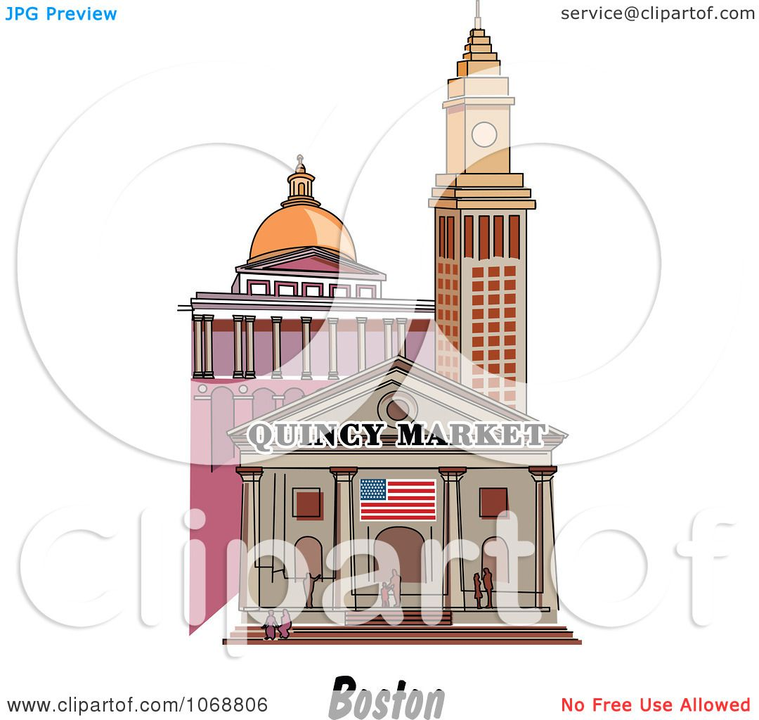 clipart boston massachusetts city scene at quincy market royalty free vector illustration by. Black Bedroom Furniture Sets. Home Design Ideas