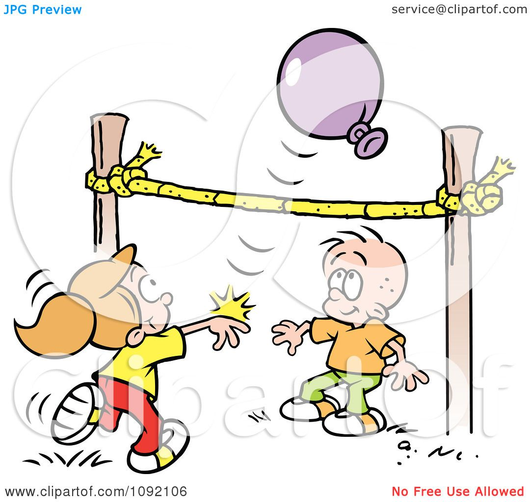 Clipart Boy And Girl Playing Balloon Volleyball Royalty Free Vector Illustration By Johnny Sajem 1092106