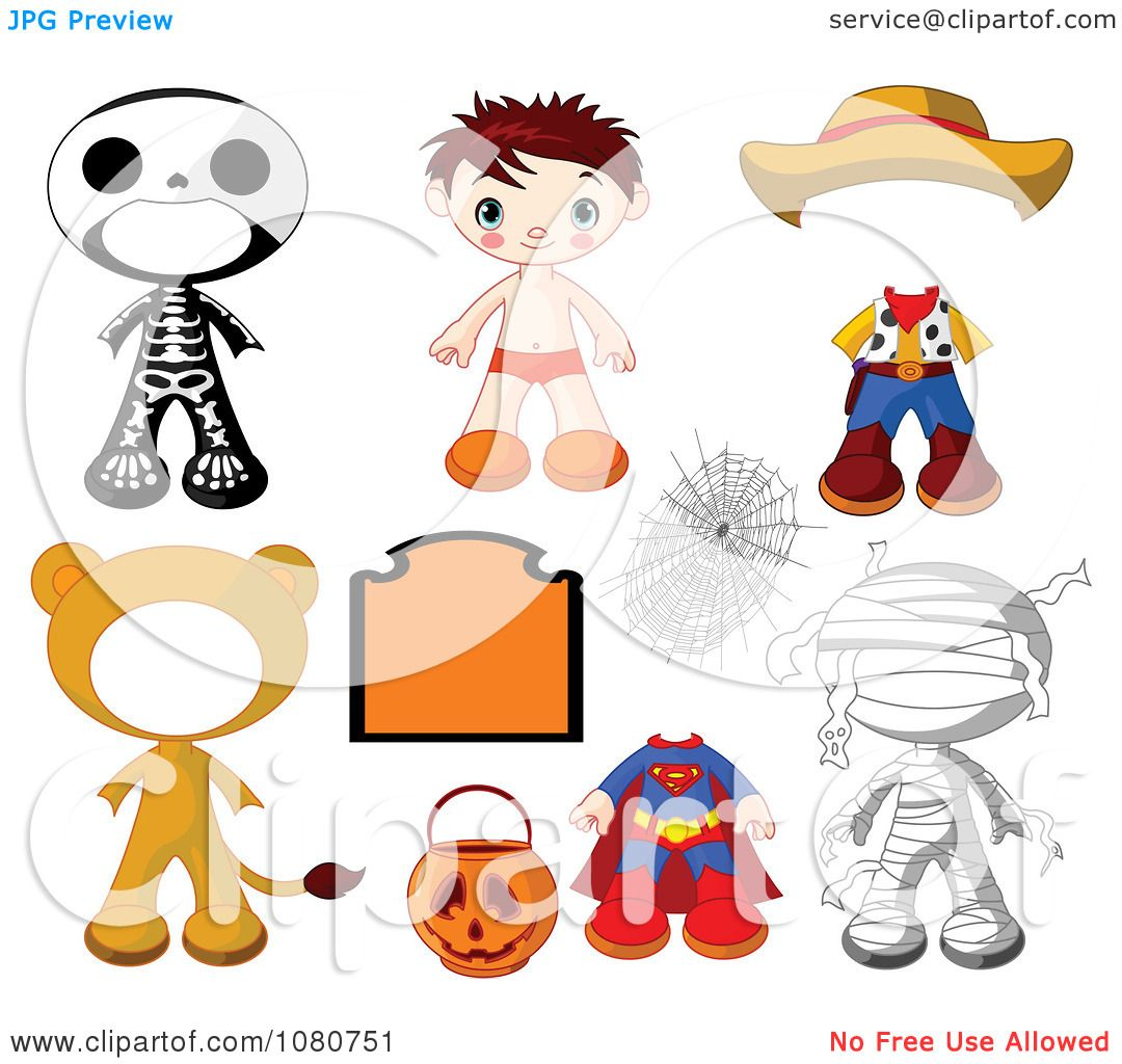 Clipart Boy Halloween Doll With Different Costumes ...