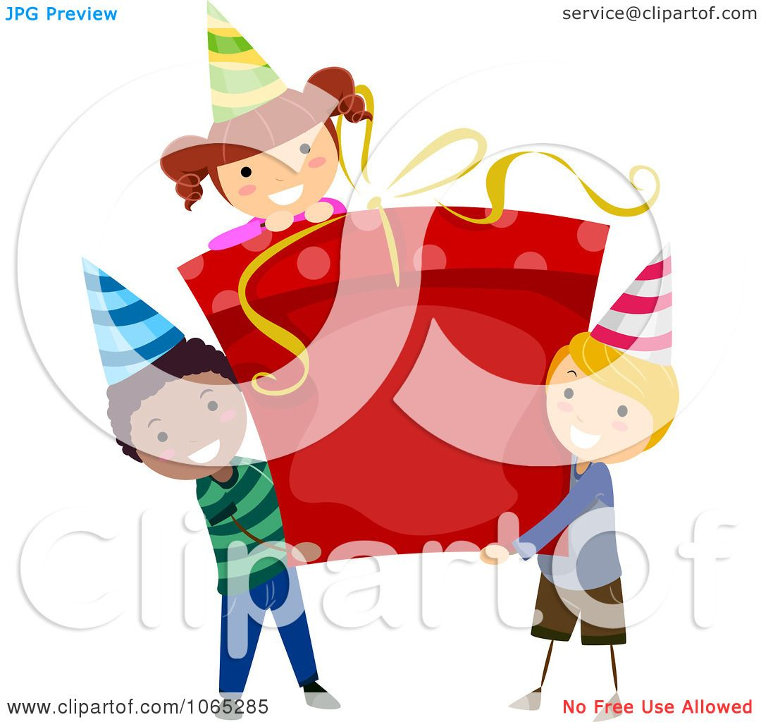 Clipart Boys Carrying A Girl On Gift Box - Royalty Free ...