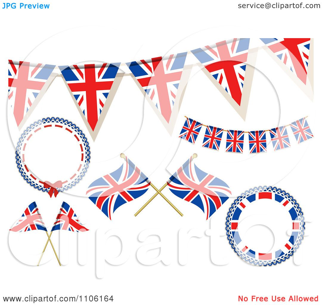 Clipart British Union Jack Frames Buntings And Flags ...
