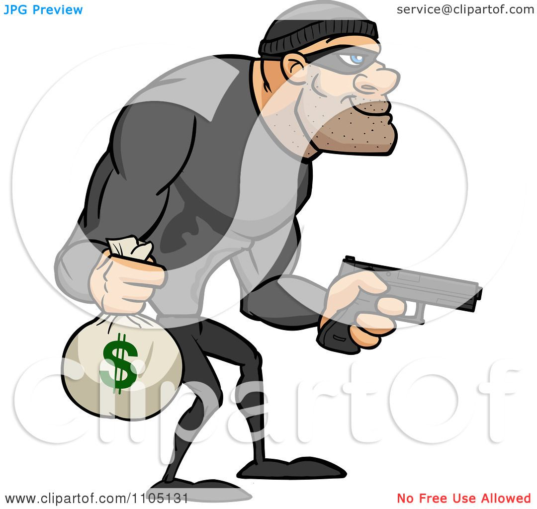 Clipart Buff Bank Robber Carrying A Money Bag And Pistol