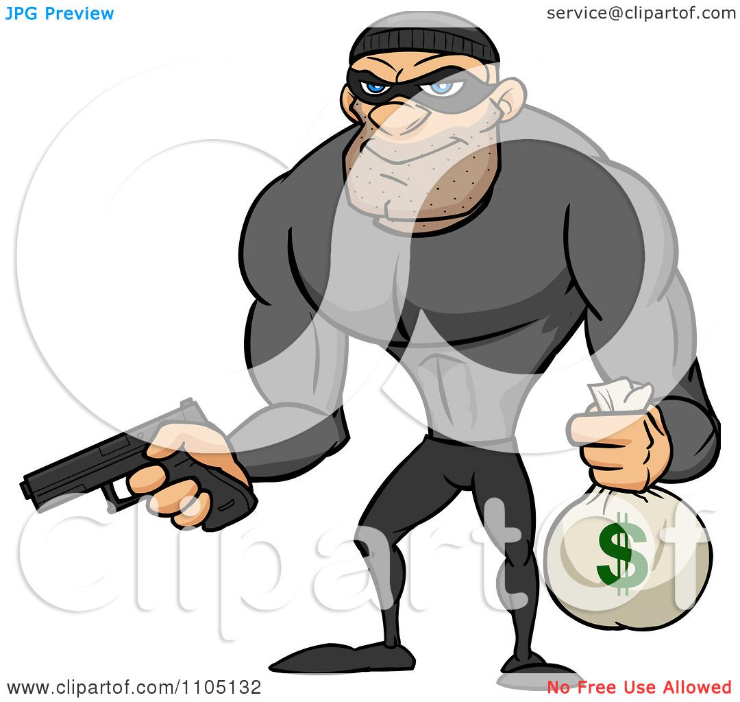 Clipart Buff Bank Robber Holding A Money Bag And Pistol