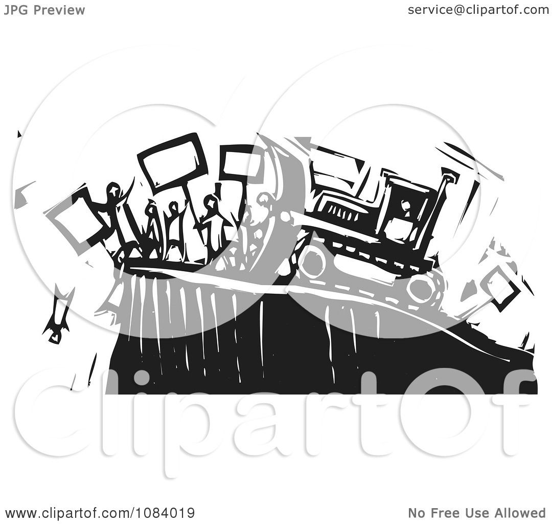 clipart bulldozer pushing people off of a cliff black and white woodcut royalty free vector. Black Bedroom Furniture Sets. Home Design Ideas