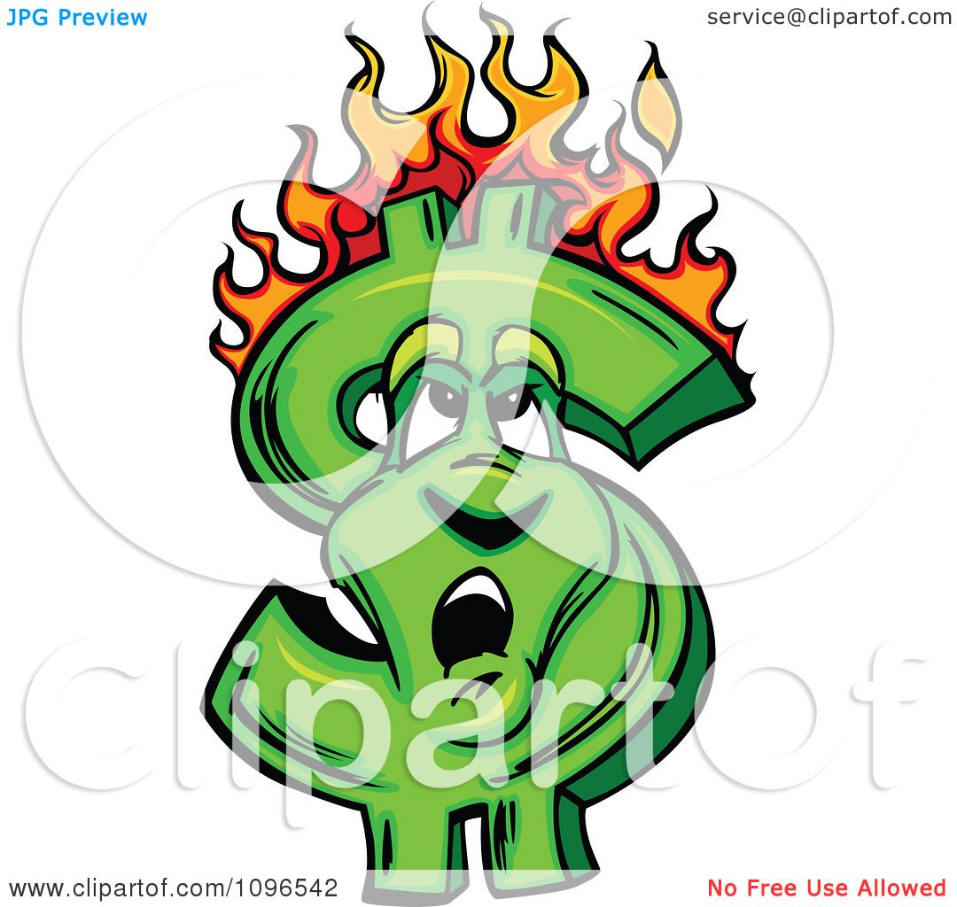 Clipart Burning Dollar Symbol Looking Up At The Flames ...
