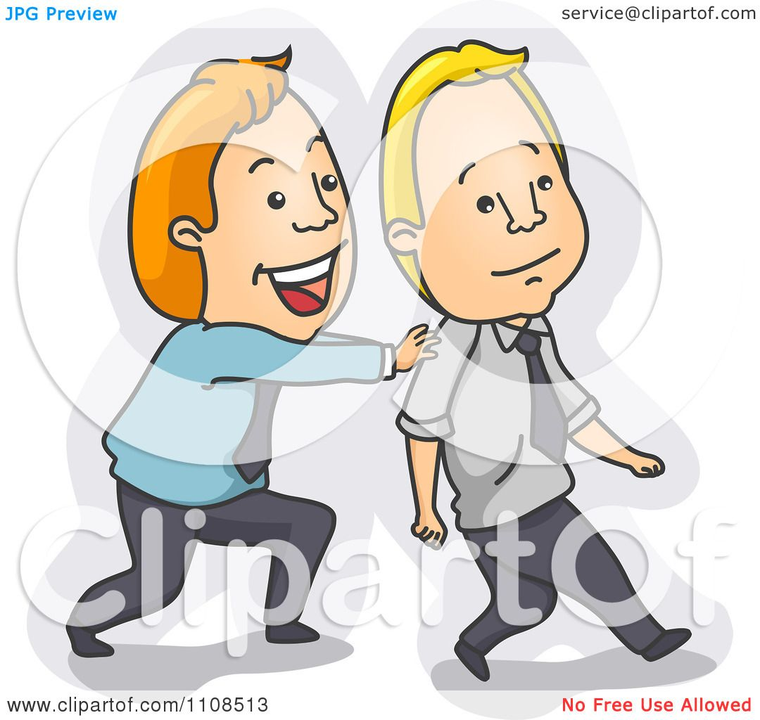Clipart Businessman Encouraging And Pushing His Friend