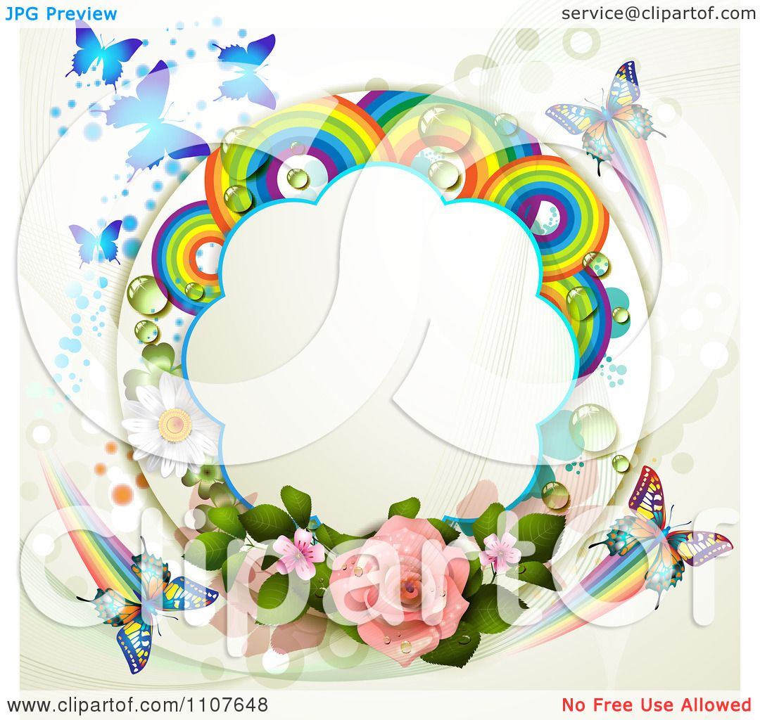Clipart Butterfly Frame With Roses And Rainbow Circles 1