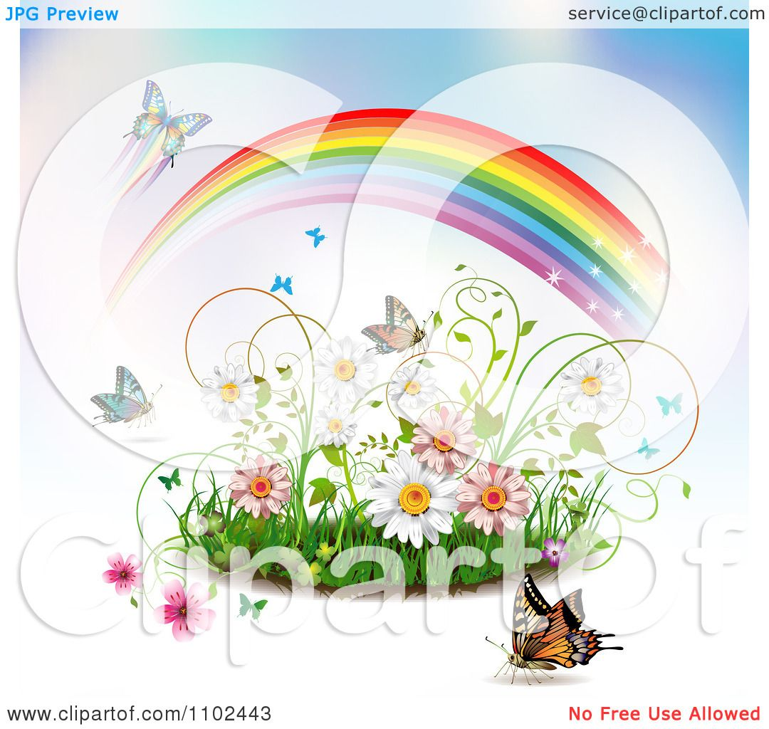 Clipart Butterfly Rainbow Grass And Spring Flower ...