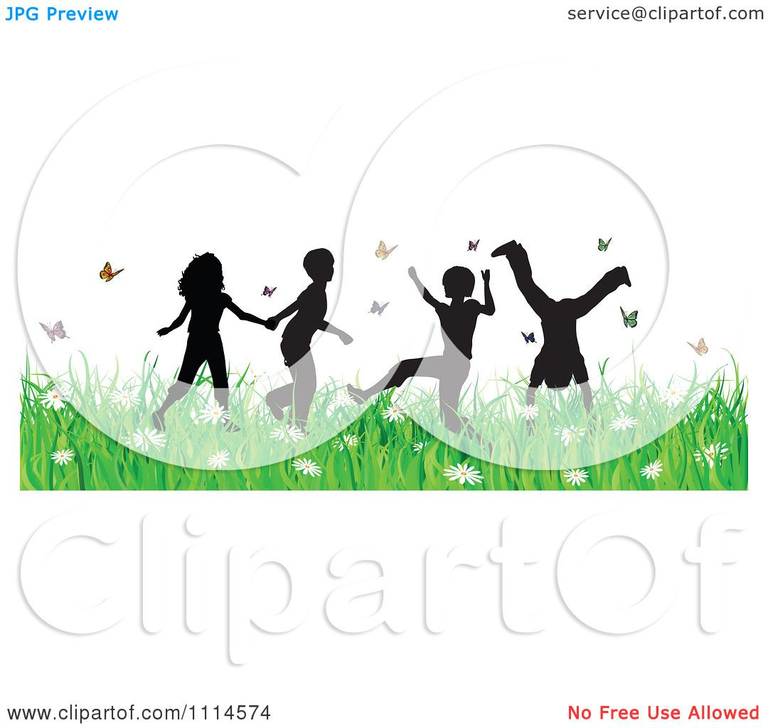 Clipart Carefree Silhouetted Children Playing In Grass And Butterflies -  Royalty Free Vector Illustration by KJ Pargeter