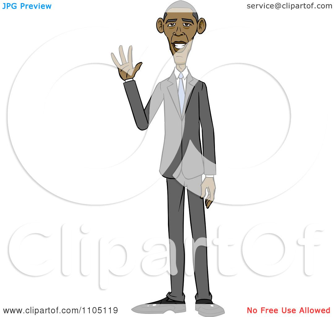 clipart caricature of barack obama standing and waving royalty
