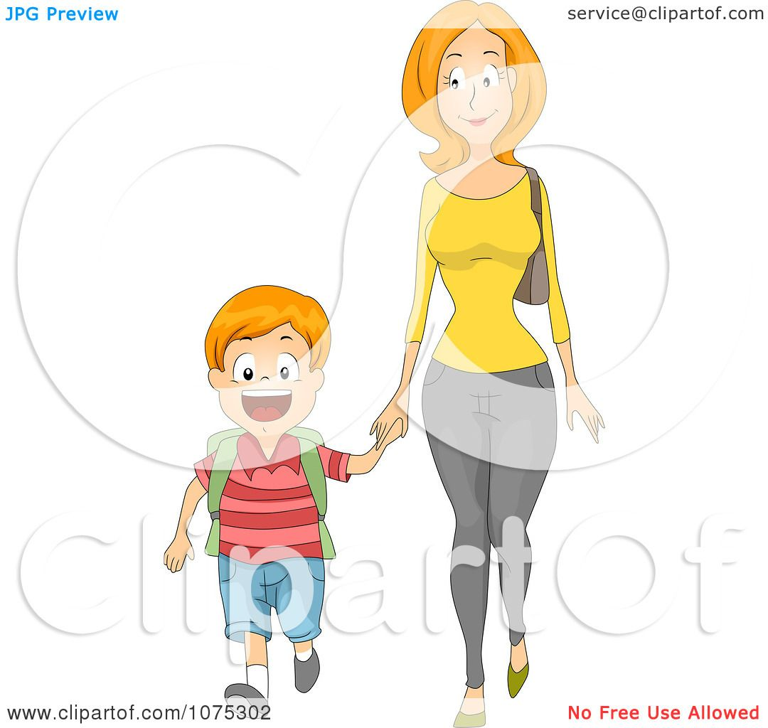 Clipart Caring Mother Holding Hands And Walking Her Son To
