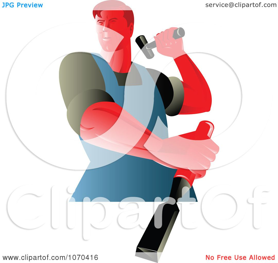 Clipart Carpenter Hammering A Chisel - Royalty Free Vector ...