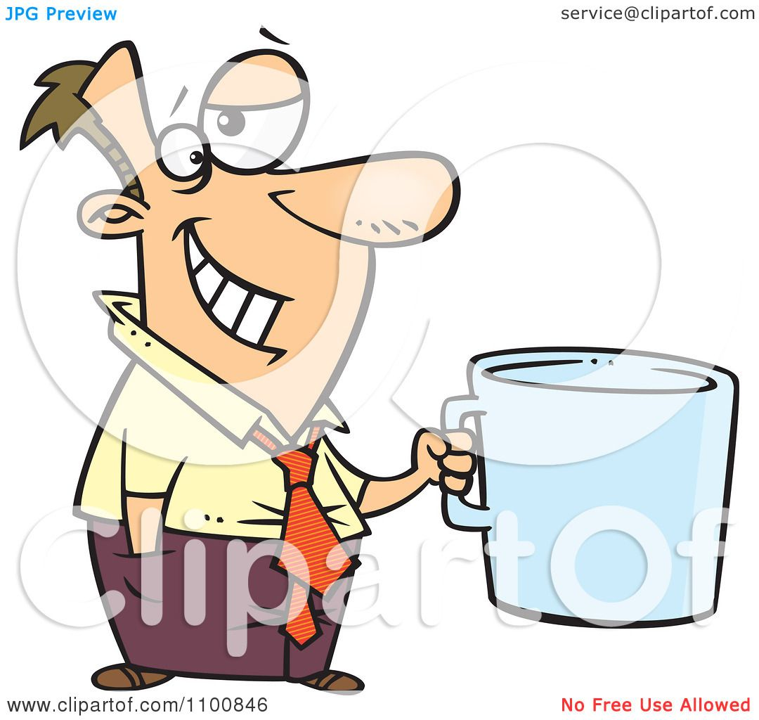 Larger preview vector clip art of a happy yellow coffee cup character - Clipart Cartoon Businessman Grinning And Holding A Giant Coffee Mug Royalty Free Vector Illustration Preview Clipart