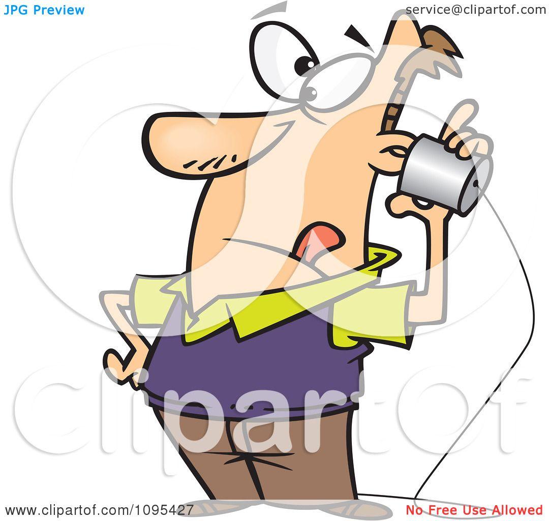 Clipart Cartoon Low Tech Man Using A Can Phone Royalty