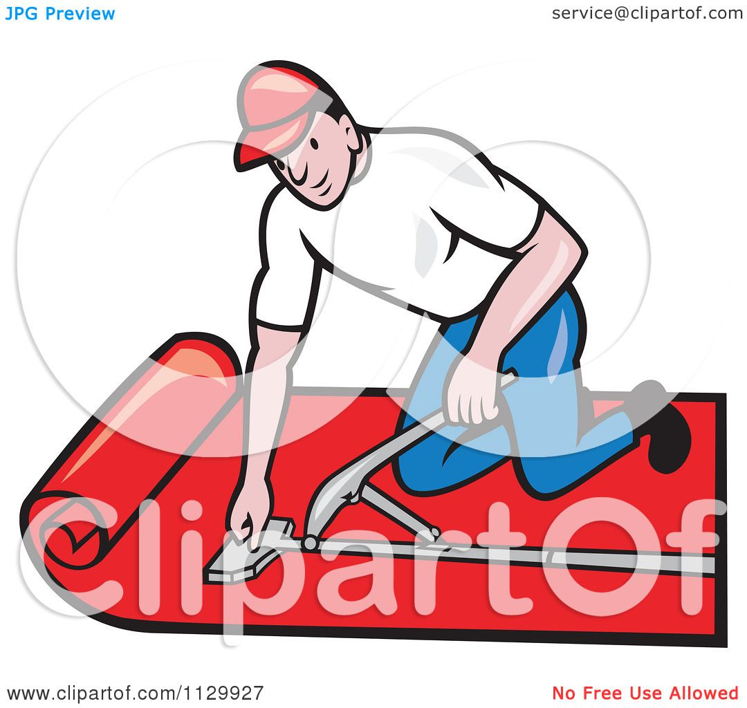 Clipart Cartoon Of A Retro Carpet Layer Worker Royalty