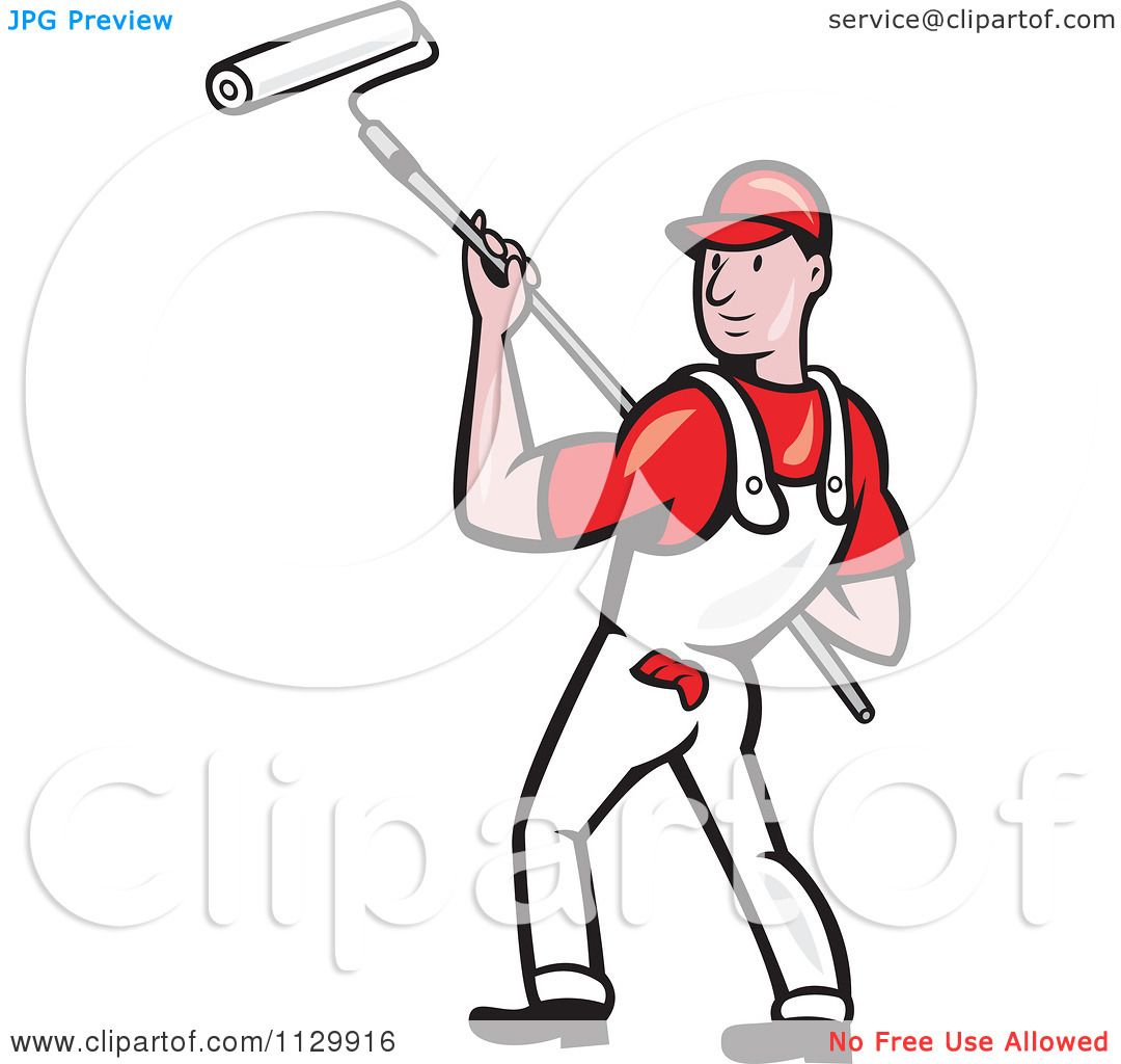 Clipart Cartoon Of A Retro House Painter Worker Using A