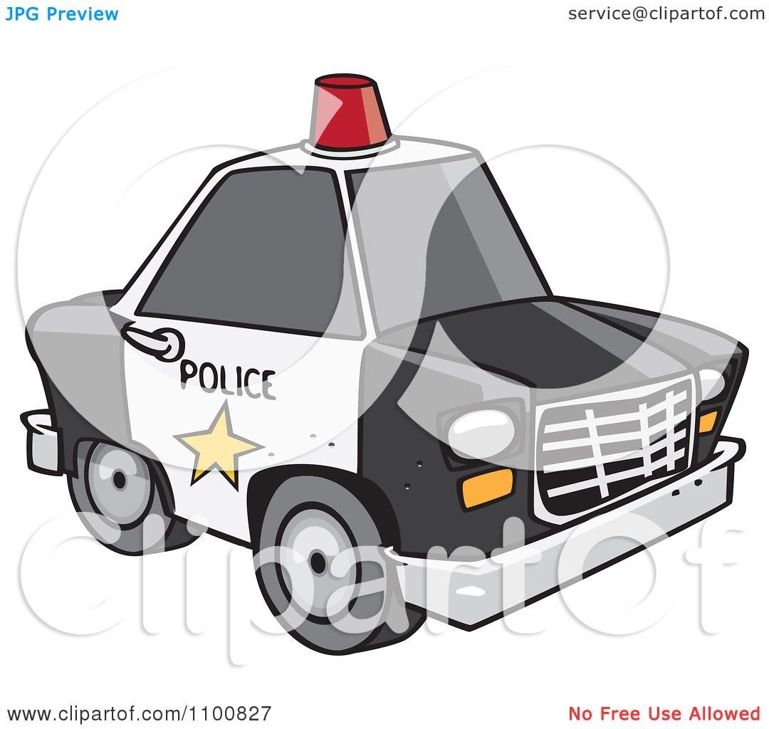 Clipart Cartoon Police Car With A Siren Cone On The Roof