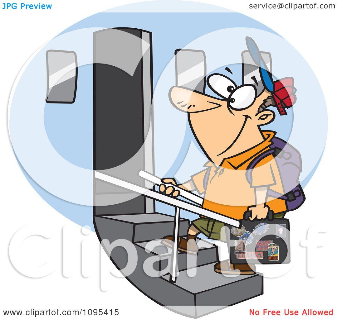 clipart cartoon tourist man boarding an airplane royalty free