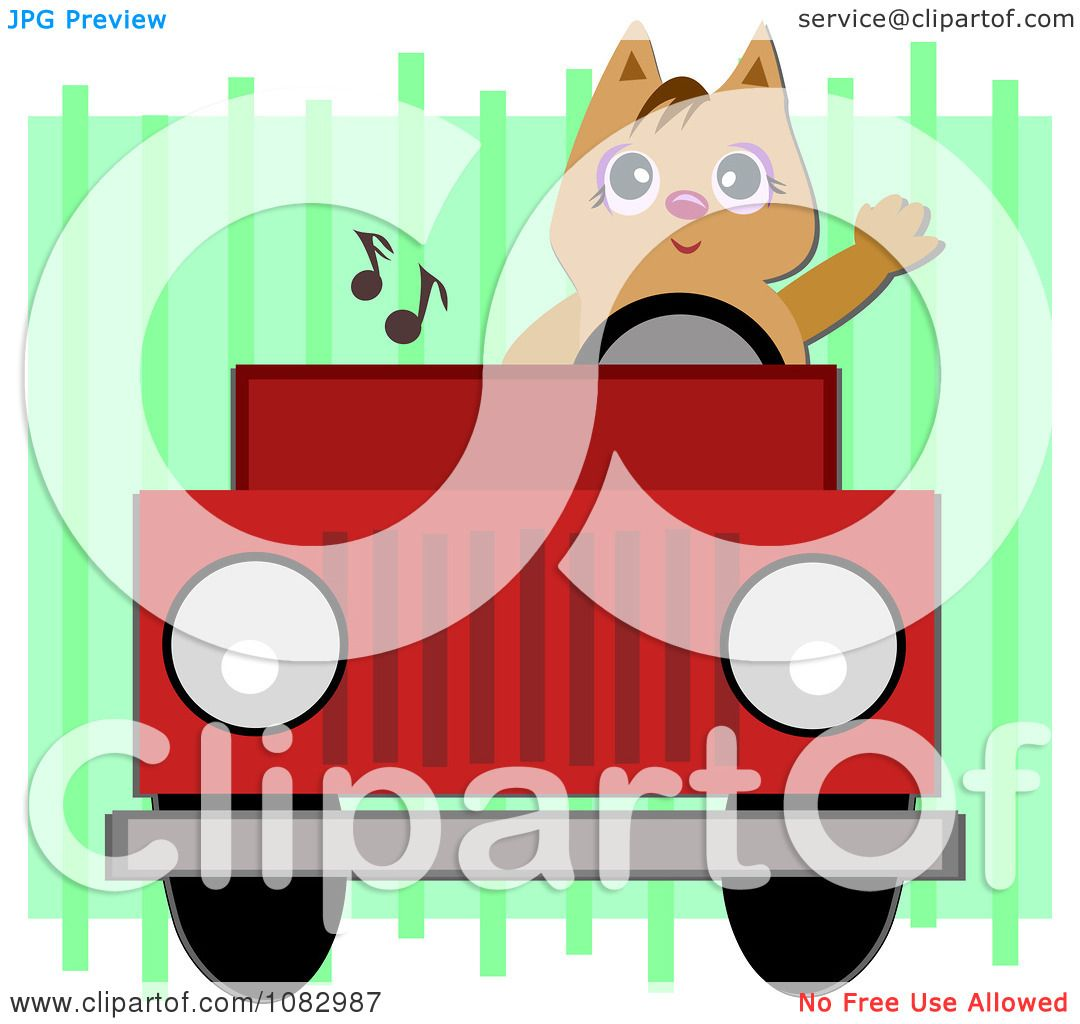 Clipart Cat Waving And Driving A Red Jeep Royalty Free