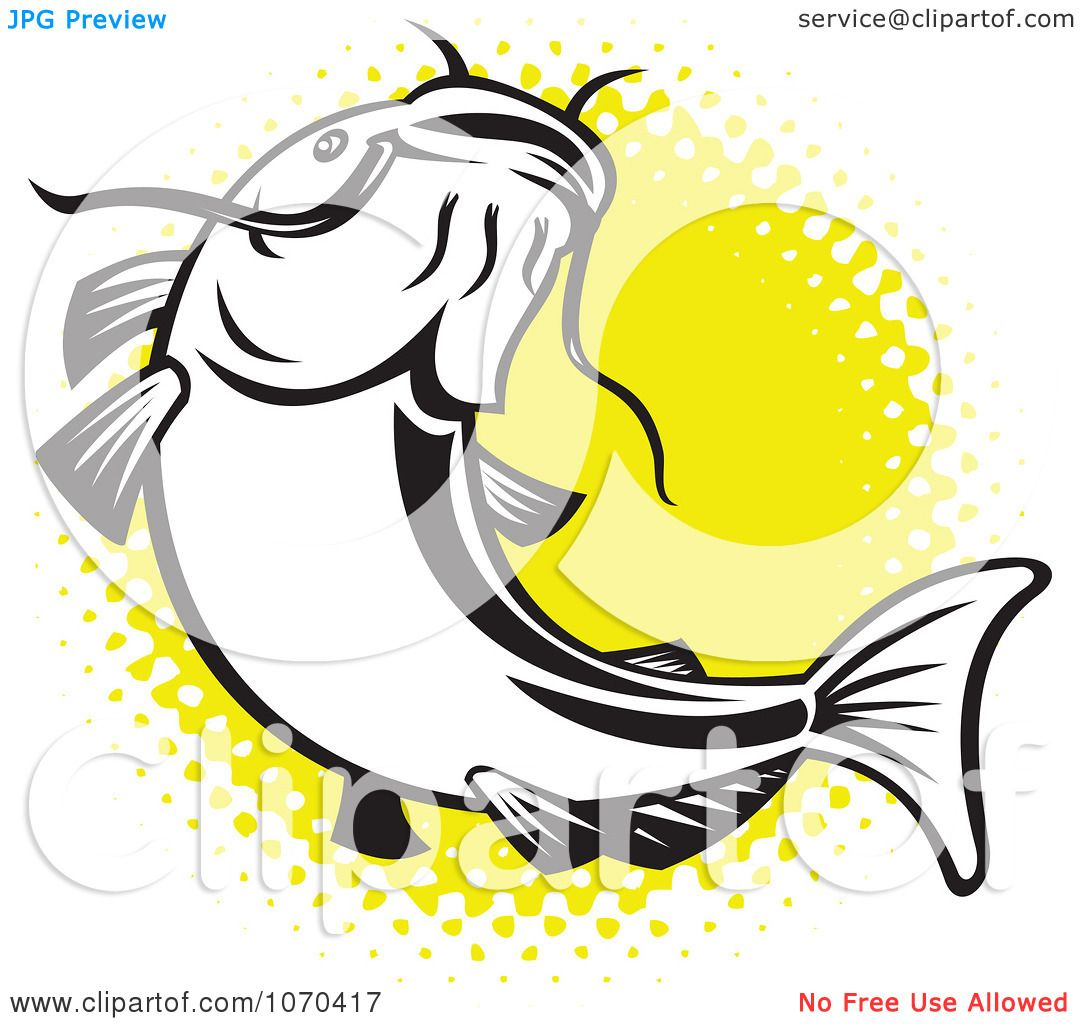 Clipart Catfish Over Yellow Halftone - Royalty Free Vector ...