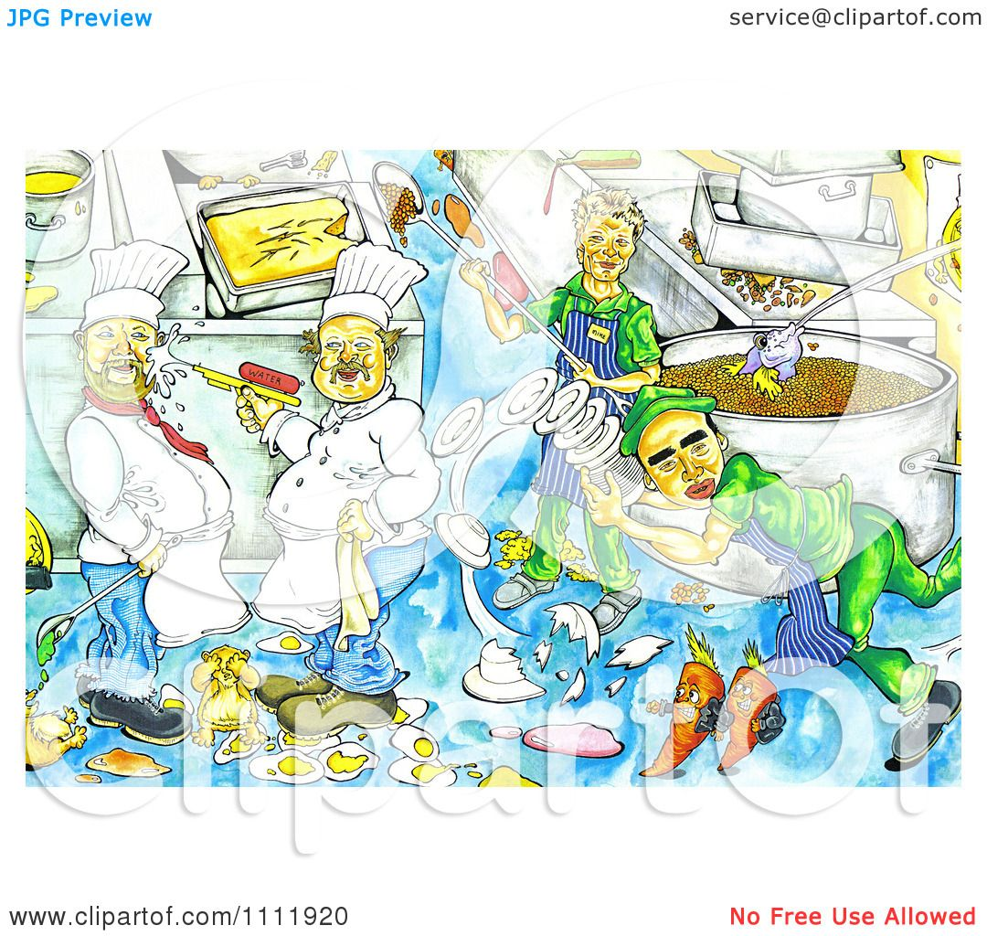 Clipart chaotic kitchen with chefs making messes royalty - Clipart illustration ...