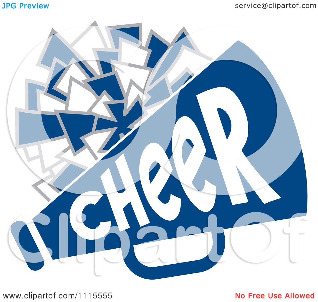 Clipart Cheerleader Pom And Megaphone In Blue Tones Royalty Free