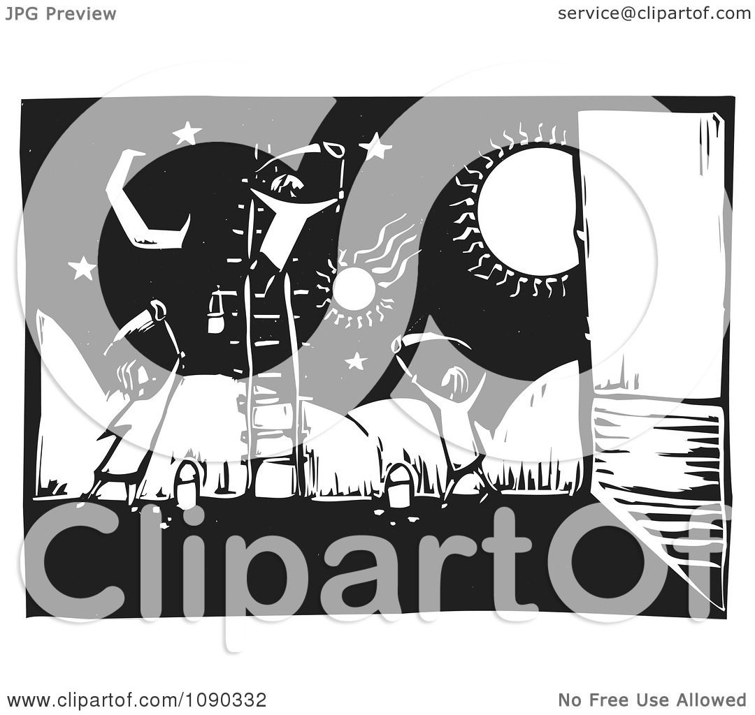 Clipart children painting a celestial wall mural black and for Mural vector