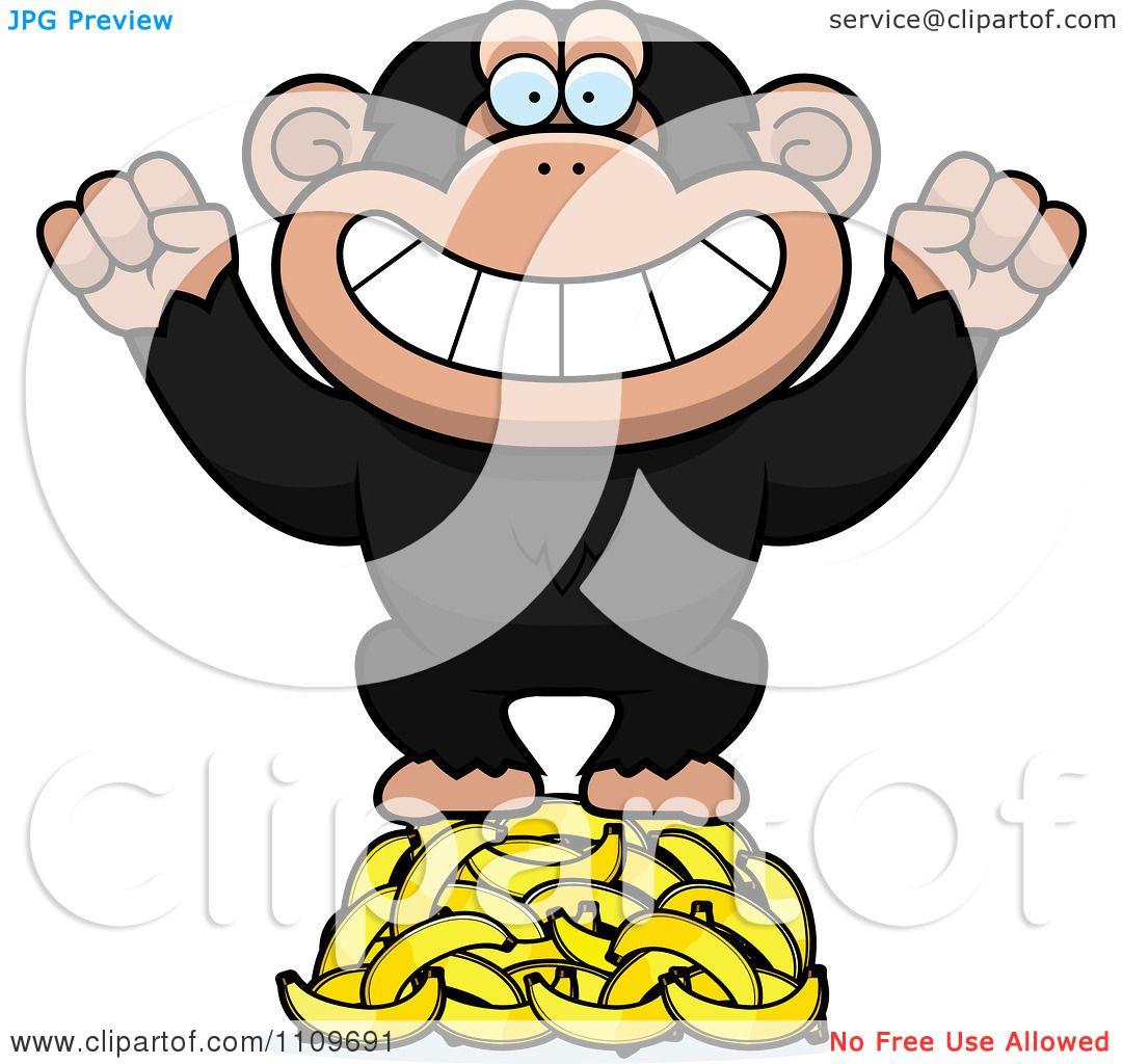 clipart chimpanzee standing on bananas royalty free vector rh clipartof com chimpanzee face clipart