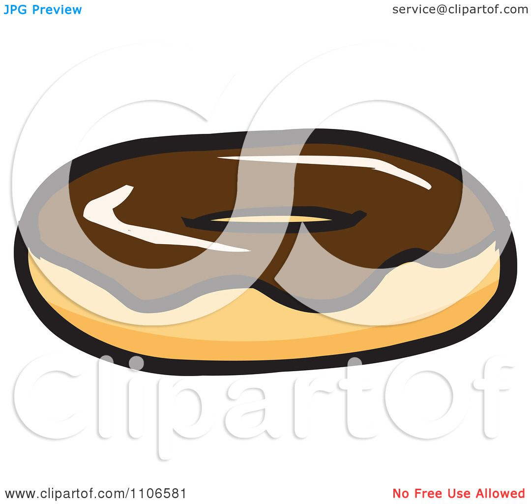 Clipart Chocolate Frosted Donut - Royalty Free Vector ...