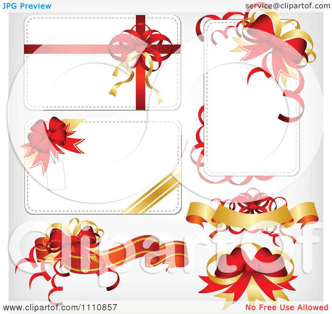 Clipart Christmas Cards And Banners With Red And Gold Ribbons And ...