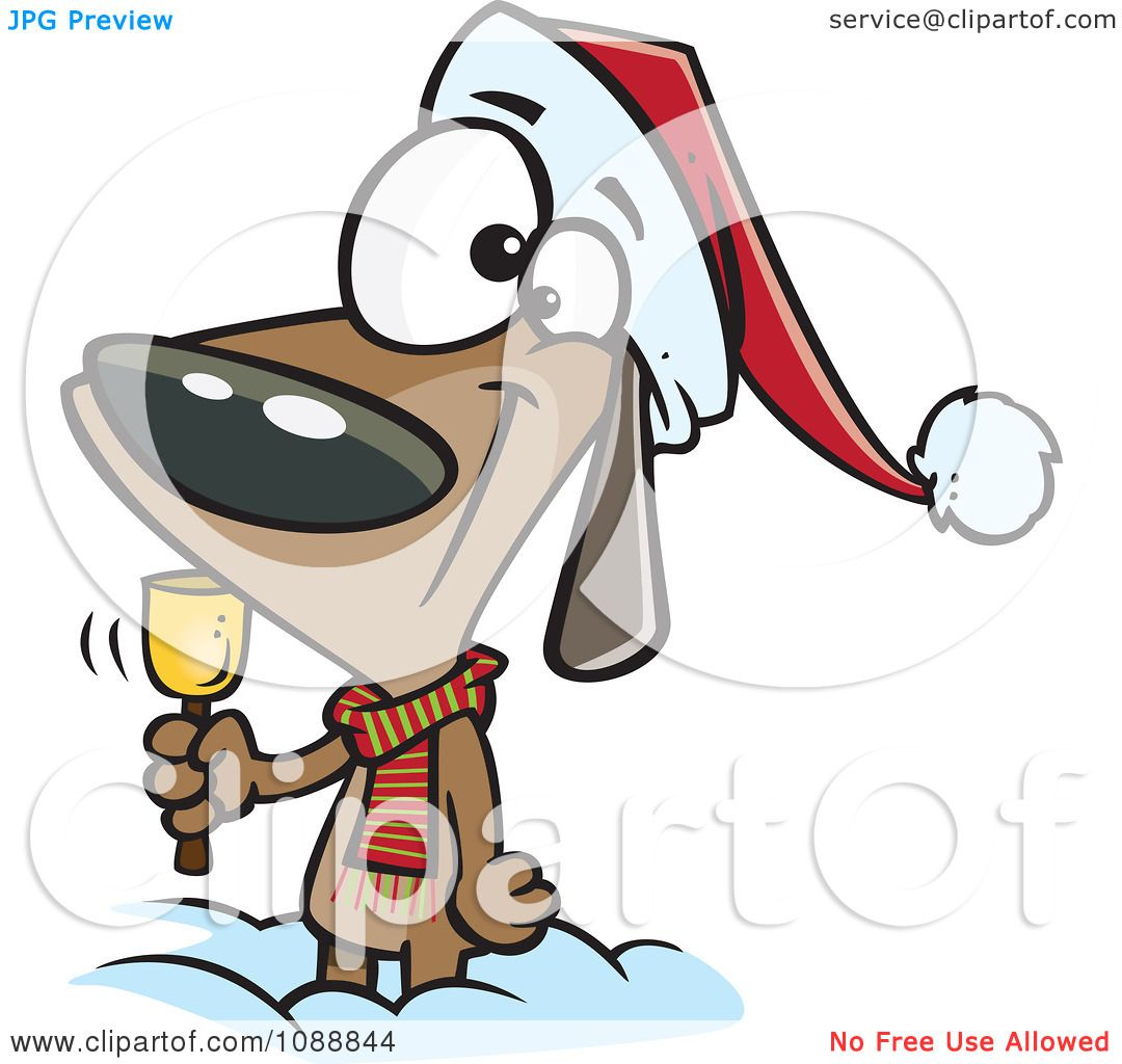 Clipart Christmas Dog Ringing A Bell For Donations - Royalty Free ...