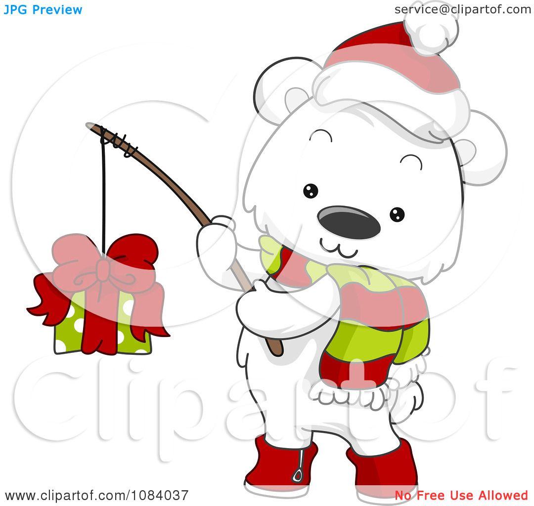 Clipart Christmas Polar Bear Fishing A Gift