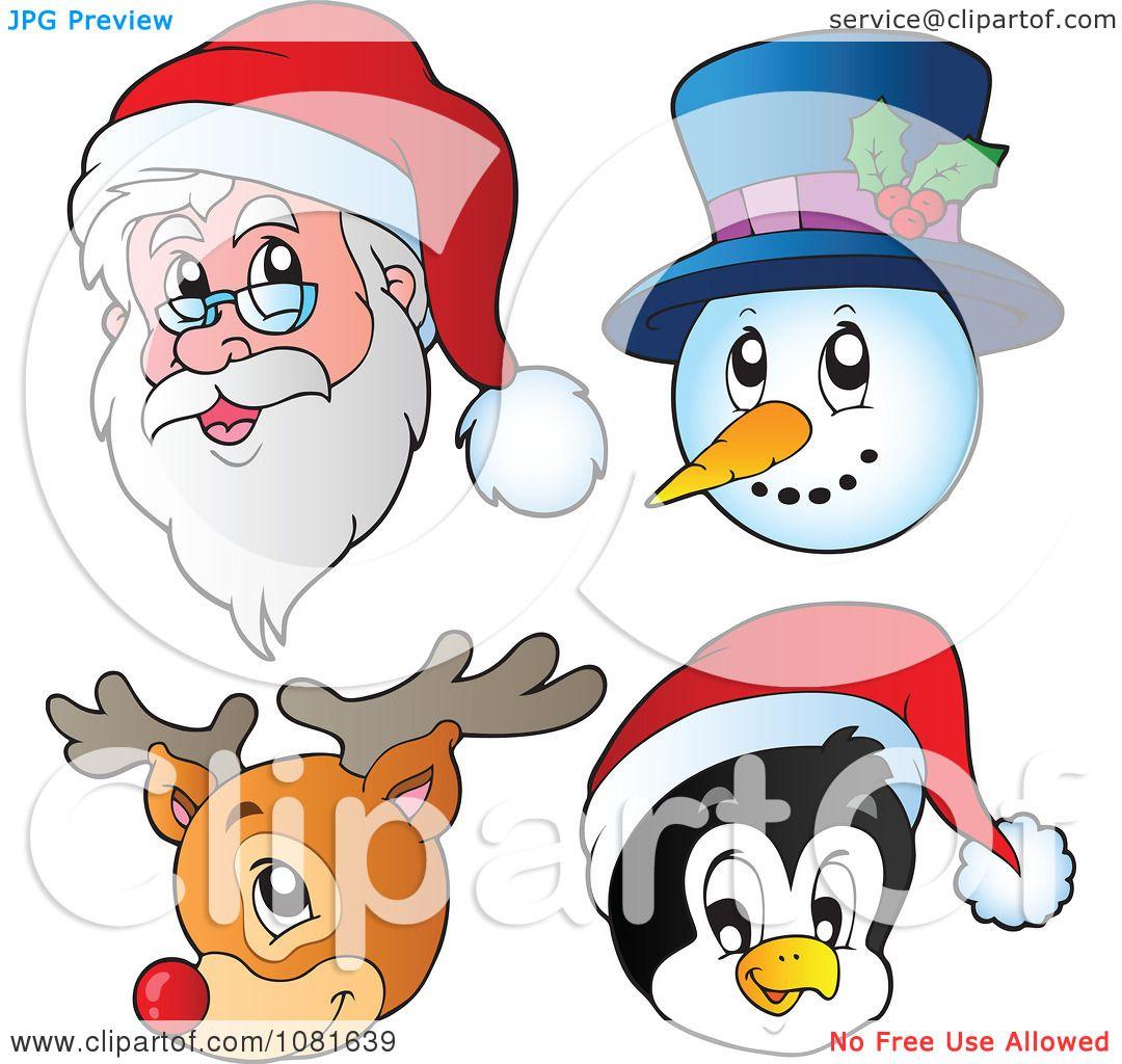 clipart christmas santa snowman reindeer and penguin faces royalty free vector illustration by visekart - Santa Snowman