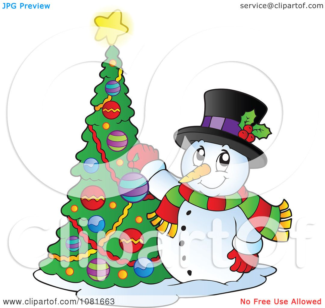 Clipart christmas snowman decorating a tree royalty free