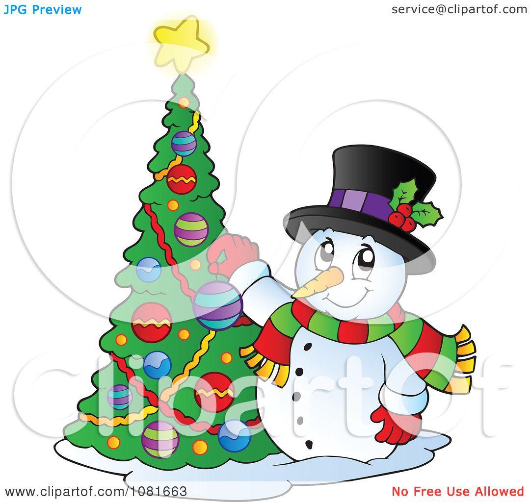 Clipart Christmas Snowman Decorating