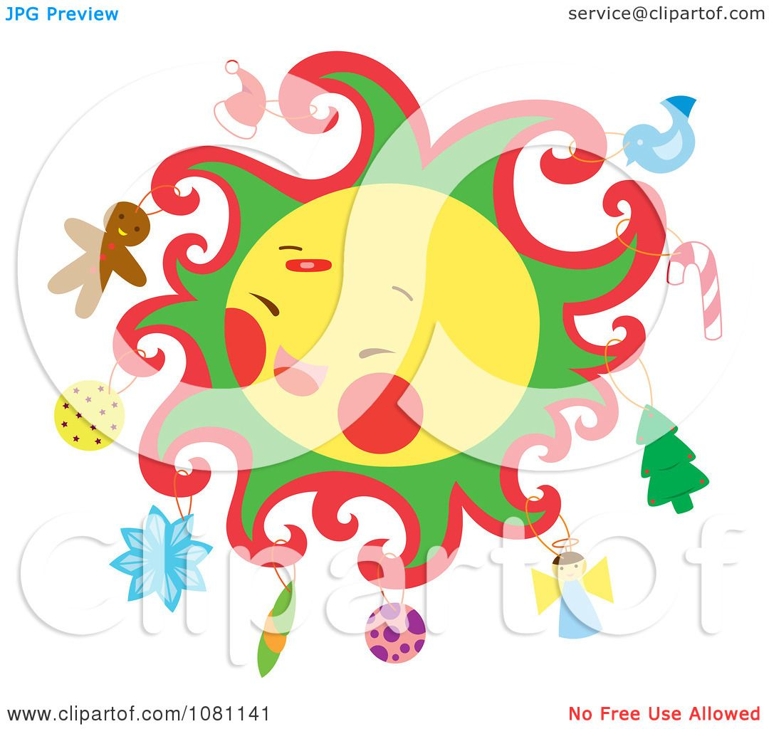 Clipart Christmas Themed Sun With Ornaments - Royalty Free ...