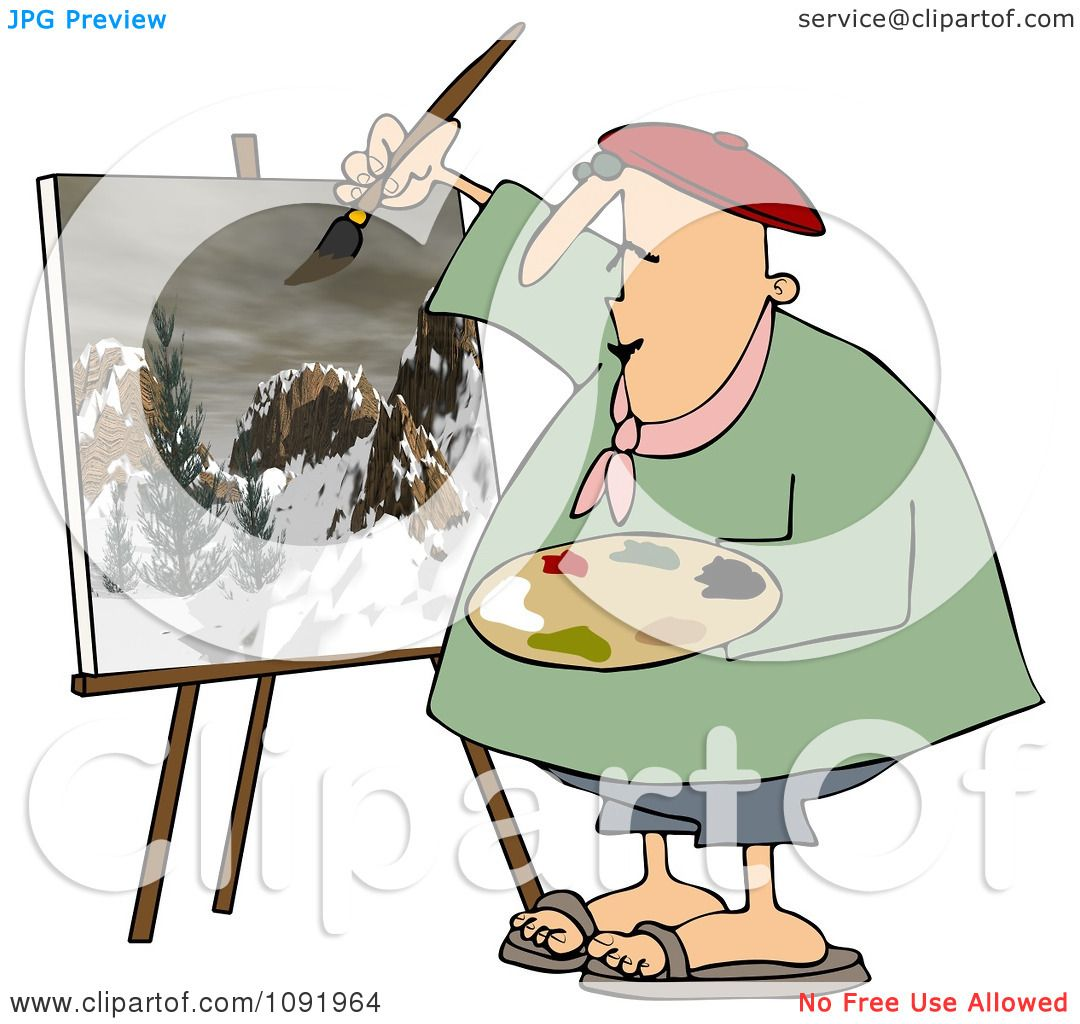 Clipart Chubby Artist Painter Working