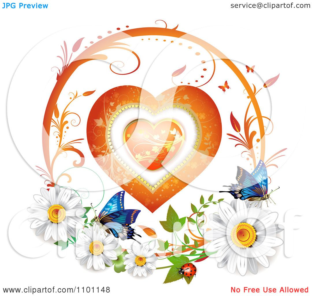Clipart Circular Floral Heart Vine Frame With Daisies ...